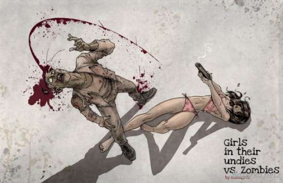 Girls and zombie art